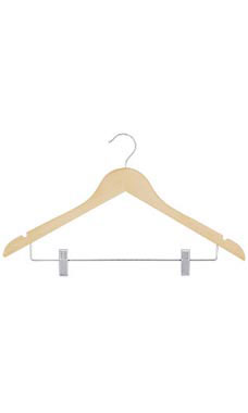 17 inch Natural Wood All Purpose Suit Hangers
