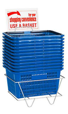 Set of 12 Blue Shopping Baskets
