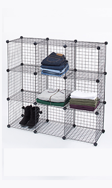 3 x 3 Mini Black Wire Grid Unit with Back
