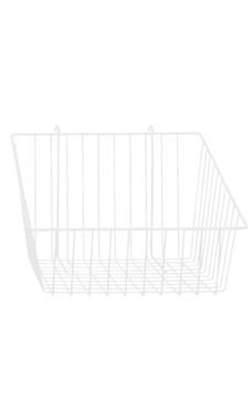 12 x 12 x 8 inch White Mini Wire Grid Basket for Wire Grid with 4 inch Slanted Front Lip