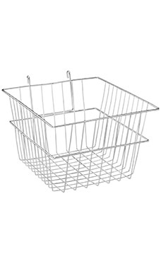 12 x 12 x 8 inch Chrome Mini Wire Grid Basket for Wire Grid