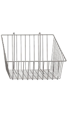 12 x 12 x 8 inch Chrome Mini Wire Grid Basket for Wire Grid with 4 inch Slanted Front Lip