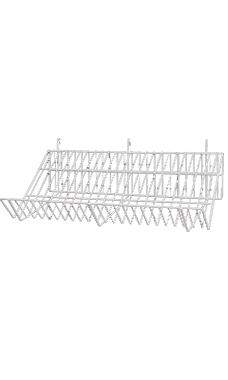 24 x 12 x 6 inch White Downslope Shelf for Wire Grid with 4 inch Slanted Front Lip