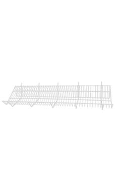 48 x 12 x 6 inch White Downslope Shelf for Wire Grid with 4 inch Slanted Front Lip