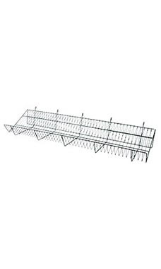 48 x 12 x 6 inch Black Downslope Shelf for Wire Grid with 4 inch Slanted Front Lip