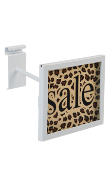 Rectangular White Faceout Sign Holder for Wire Grid