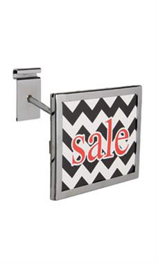 Rectangular Chrome Faceout Sign Holder for Wire Grid