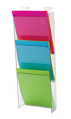 3-Tier Clear Acrylic Brochure Holder for Slatwall or Wire Grid