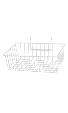 12 x 8 x 4 inch White Mini Wire Grid Basket for Slatwall or Pegboard