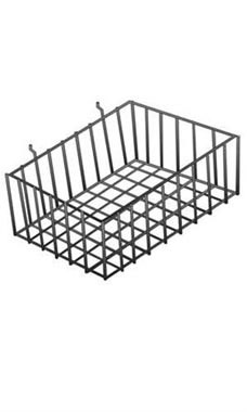 12 x 8 x 4 inch Black Mini Wire Grid Basket for Slatwall or Pegboard