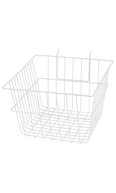 12 x 12 x 8 inch White Mini Wire Grid Basket for Slatwall or Pegboard