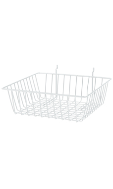 12 x 12 x 4 inch White Mini Wire Grid Basket for Slatwall or Pegboard