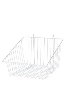 White Mini Wire Grid Basket for Slatwall or Pegboard with 4 inch Slanted Front Lip