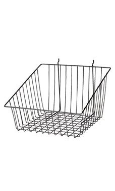 Black Mini Wire Grid Basket for Slatwall or Pegboard with 4 inch Slanted Front Lip