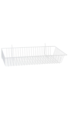 24 x 12 x 4 inch White Mini Wire Grid Basket for Slatwall or Pegboard