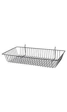 24 x 12 x 4 inch Black Mini Wire Grid Basket for Slatwall or Pegboard