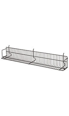 48 x 6 x 6 ½ inch Black CD/DVD/Cassette Shelf for Slatwall or Pegboard