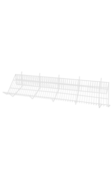 48 x 12 x 6 inch White Downslope Shelf for Slatwall or Pegboard with 4 inch Slanted Front Lip