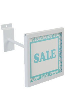 Rectangular White Faceout Sign Holder for Slatwall
