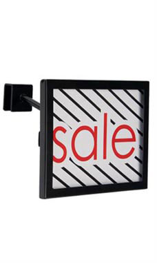 Rectangular Black Faceout Sign Holder for Dimensional Hangrail