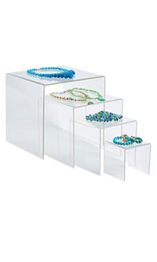 4, 6, 8, 10 inch Square Nesting Clear Acrylic Display- Set of 4
