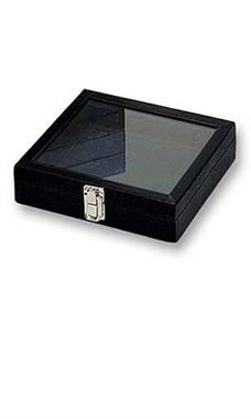 Small Black Faux Leather Glass Top Jewelry Tray