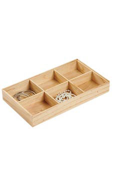 6-Section Natural Wood Jewelry Tray