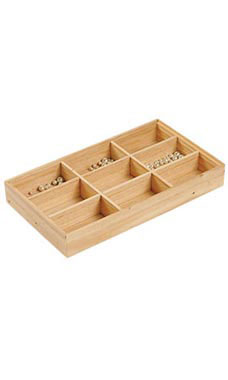 "9 Section Natural Wood Tray 15""L x 8 1/2""W x 2""D"