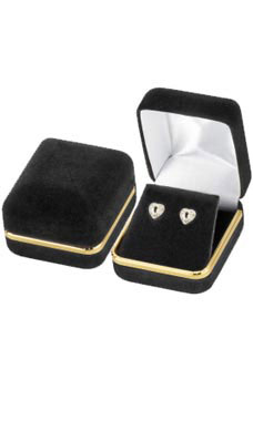Earring Box - Black Velvet