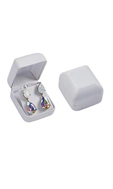 White Faux Leather Earring Box