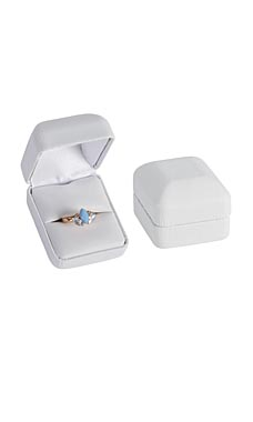 White Faux Leather Ring Box