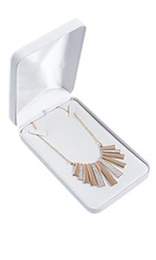 Necklace Box - White Faux Leather