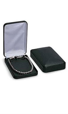 Black Faux Leather Necklace Box