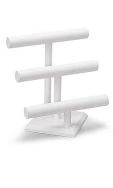 3-Tier White Faux Leather Jewelry Display