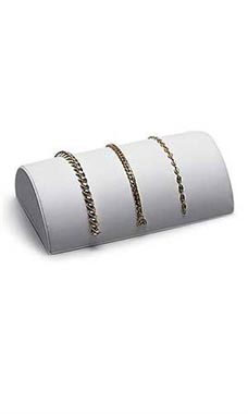 Half Moon White Faux Leather Bracelet Display