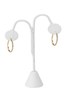 White Faux Leather Earring Tree Display