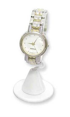 Vertical White Faux Leather Watch Stand