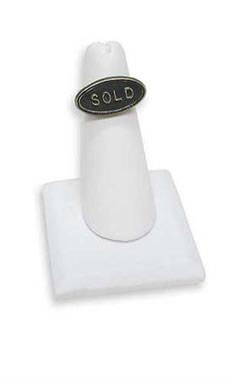 White Faux Leather Single Finger Ring Display with Square Base