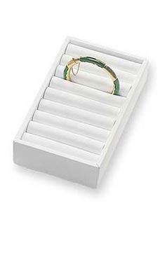9 Section White Bangle Tray with Velvet Inserts