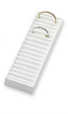 21 Section White Bangle Tray with Velvet Inserts