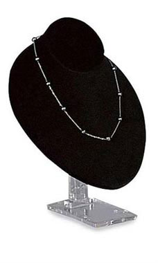 Adjustable Black Velvet Necklace Bust