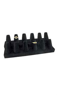 12-Finger Black Velvet Ring Display