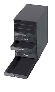 Black Faux Leather 10-Drawer Jewelry Storage Organizer