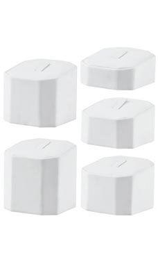 Hexagonal White Faux Leather Jewelry Display Risers - Set of 5