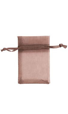 2 x 3 inch Chocolate Organza Drawstring Pouches