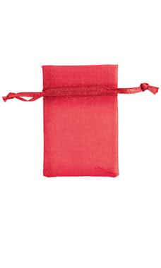 2 x 3 inch Red Organza Drawstring Pouches