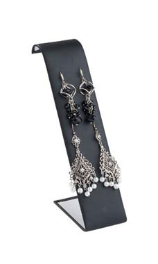 Tall Black Faux Leather Earring Display