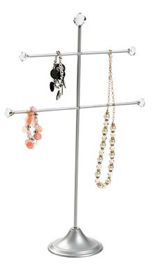 Large 2-Tier T-Bar Silver Jewelry Display