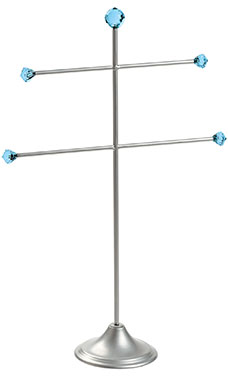 Large Silver T-Bar 2-Tier Jewelry Display with Aqua Gems