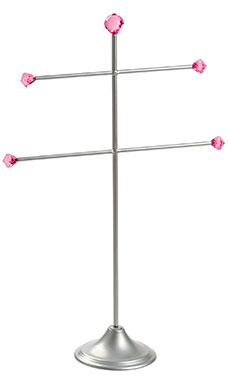Large Silver T-Bar 2-Tier Jewelry Display with Fuchsia Gems